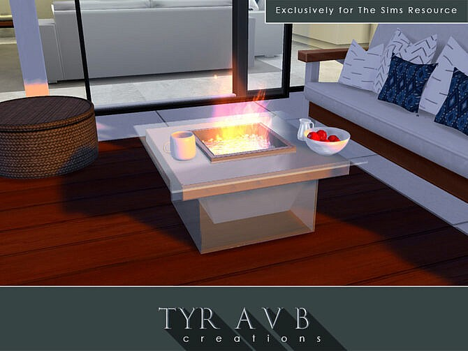 Sims 4 Modern Glass Fire Pit by TyrAVB at TSR