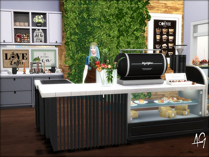 Sims 4 The Caboose Coffee Bar and Laundry by ALGbuilds at TSR