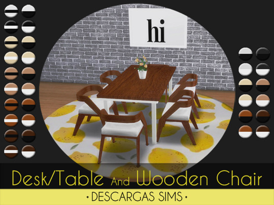 Table Desk And Wooden Chair