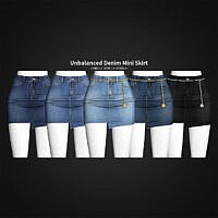 Unbalanced Denim Mini Skirt
