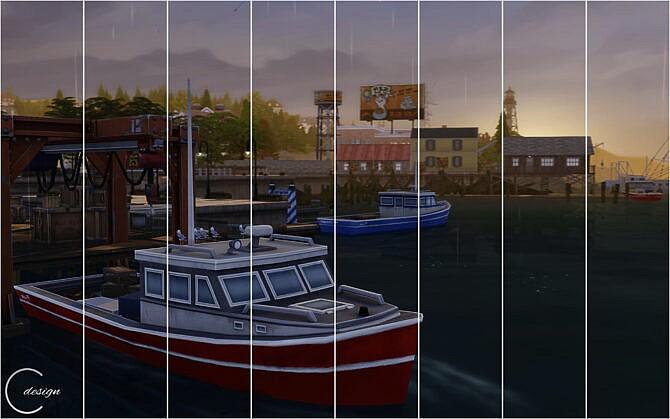 Sims 4 Harbor Sunset Mural at Cross Design