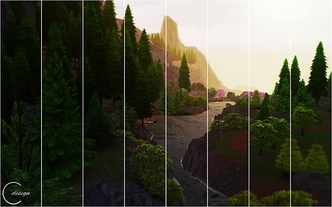 Sims 4 Tranquil Forest Mural at Cross Design