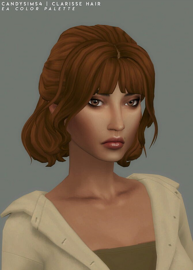 Sims 4 CLARISSE half bun hair with some loose strands at Candy Sims 4
