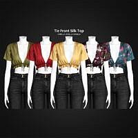 Tie Front Silk Top