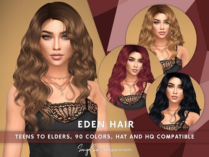 Sims 4 Eden Long Wavy Hair at Sonya Sims