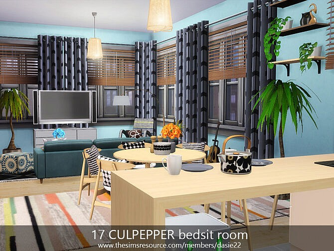 Sims 4 17 CULPEPPER bedsit room by dasie2 at TSR