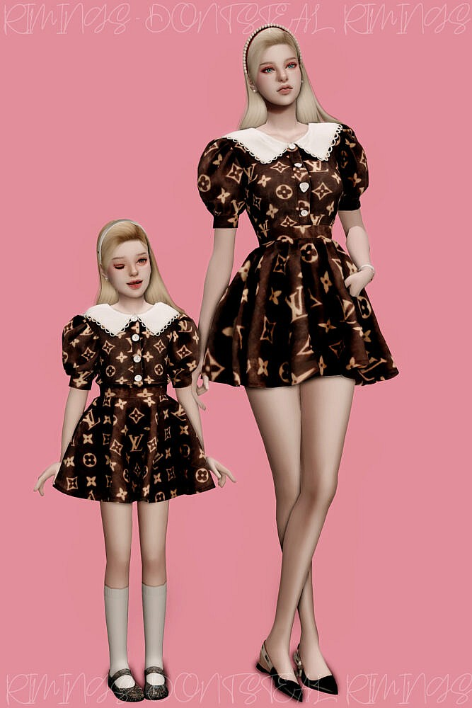 Sims 4 Puff Sleeve Dress Mother & Daughter at RIMINGs