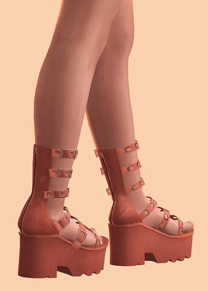 Sims 4 Studded Gladiator Platform Sandals at Astya96