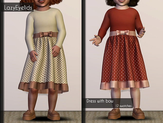 Sims 4 Dress with bow & Button up dress at LazyEyelids