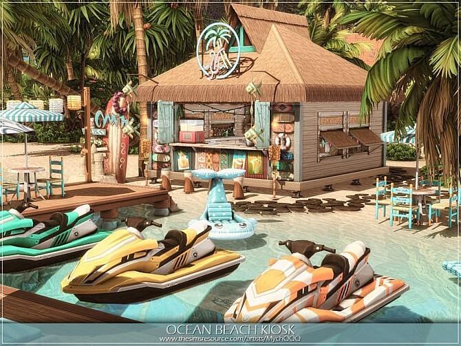 Sims 4 Ocean Beach Kiosk Cafe by MychQQQ at TSR