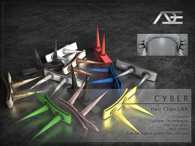 Cyber Hair Clips L&r By Ade_darma