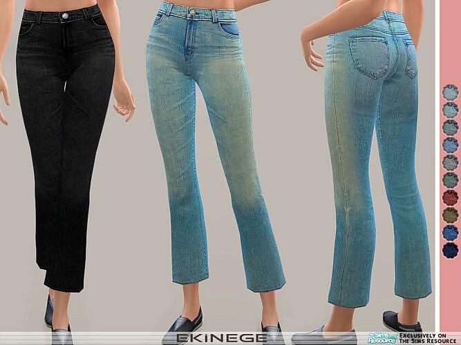 High Waist Crop Bootcut Jeans By Ekinege