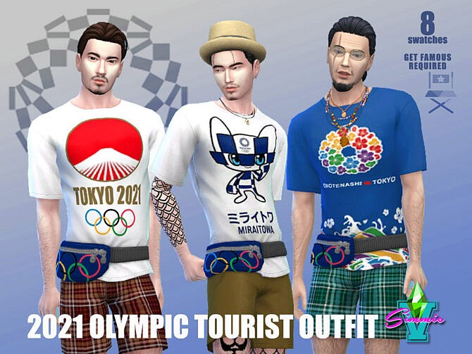 Sims 4 2021 Olympic Tourist Outfit by SimmieV at TSR