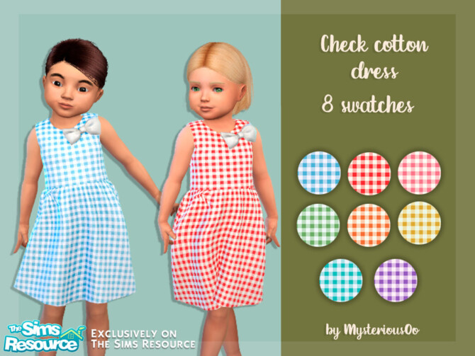 Sims 4 Check cotton dress by MysteriousOo at TSR