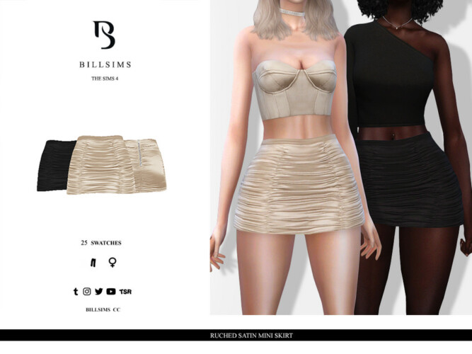 Ruched Satin Mini Skirt By Bill Sims