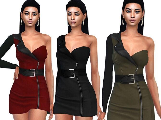 Sims 4 One Shoulder Formal Dress by Saliwa at TSR