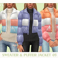Sweater & Puffer Jacket 05 By Black Lily