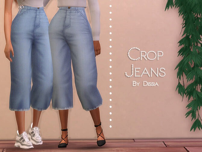 Sims 4 Crop Jeans by Dissia at TSR