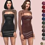 Mesh Layer Spaghetti Strap Pu Bodycon Dress By Harmonia