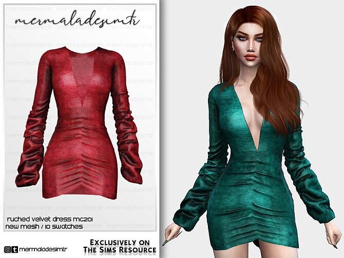 Sims 4 Ruched Velvet Dress MC201 by mermaladesimtr at TSR