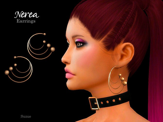 Sims 4 Nerea Earrings by Suzue at TSR