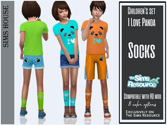 I Love Panda Socks By Sims House