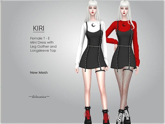 Sims 4 KIRI Goth Mini Dress by Helsoseira at TSR