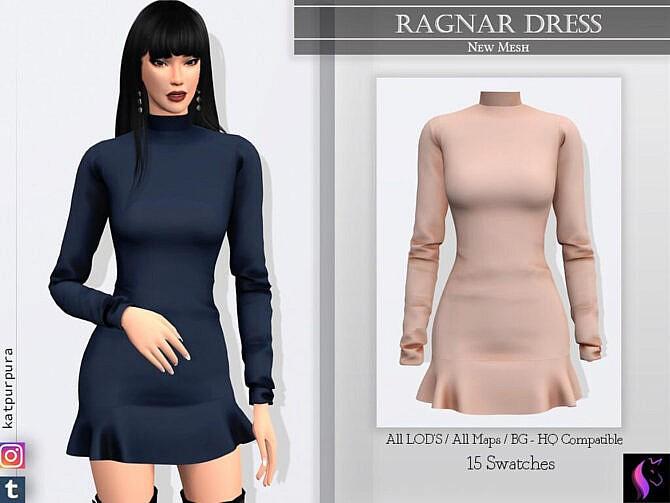 Sims 4 Ragnar Dress by KaTPurpura at TSR