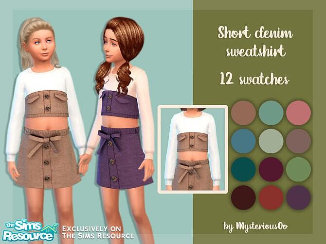 Sims 4 Short denim sweatshirt by MysteriousOo at TSR