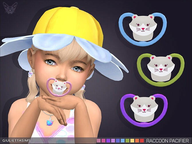 Sims 4 Raccoon Pacifier (brow ring category) by feyona at TSR