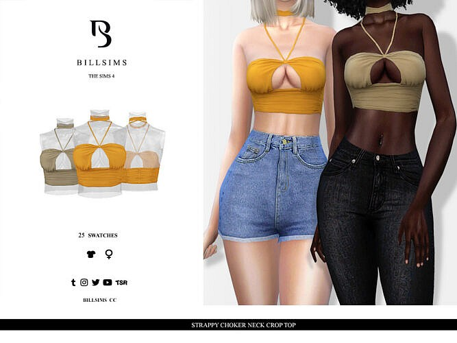 Strappy Choker Neck Crop Top By Bill Sims