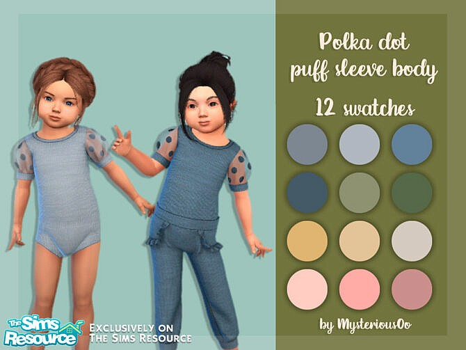 Sims 4 Polka dot puff sleeve body by MysteriousOo at TSR