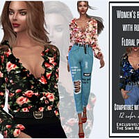 Women's Blouse With Ruffs Floral Print By Sims House