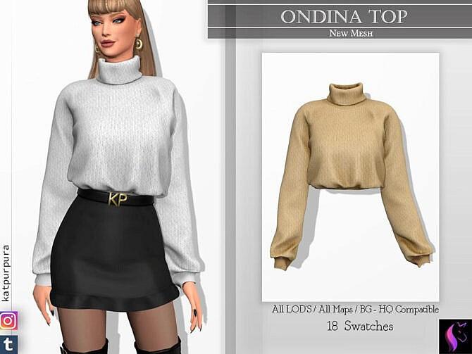 Sims 4 Ondina Top by KaTPurpura at TSR