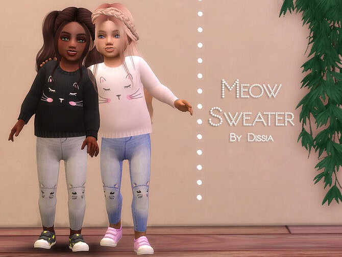 Sims 4 Meow Sweater Toddler by Dissia at TSR