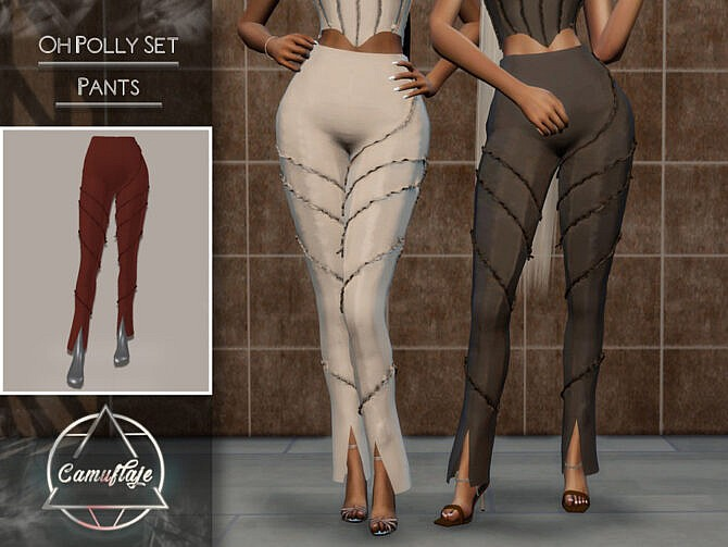 Sims 4 Oh Polly Set (Pants) by CAMUFLAJE at TSR