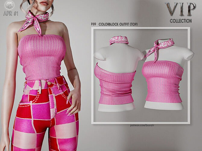 Sims 4 Colorblock Outfit (TOP) P39 by busra tr at TSR