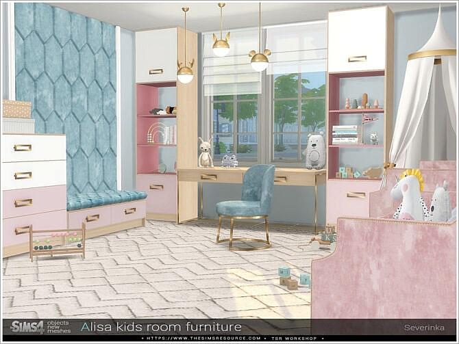 Sims 4 Alisa kidsroom furniture by Severinka at TSR