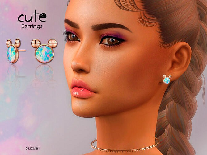 Sims 4 Cute Earrings by Suzue at TSR