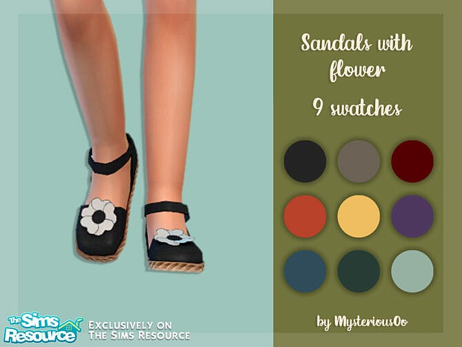 Sims 4 Sandals with flower by MysteriousOo at TSR