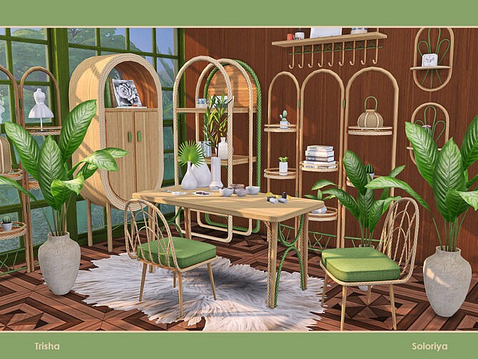 Sims 4 Trisha furniture set for home offices by soloriya at TSR