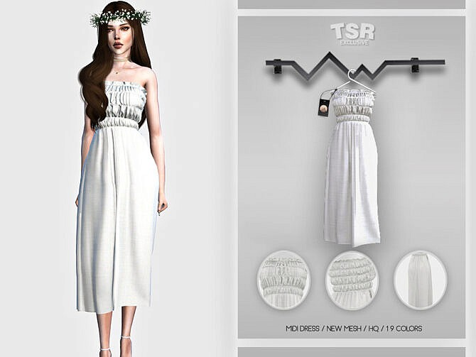 Sims 4 Midi Dress BD457 by busra tr at TSR