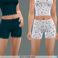Ribbed Lace-trim Shorts By Ekinege