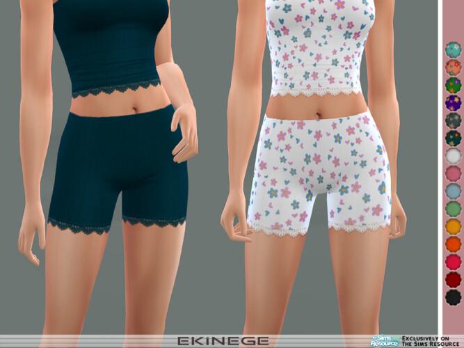 Ribbed Lace-trim Shorts By Ekinege
