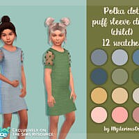 Polka Dot Puff Sleeve Dress By Mysteriousoo