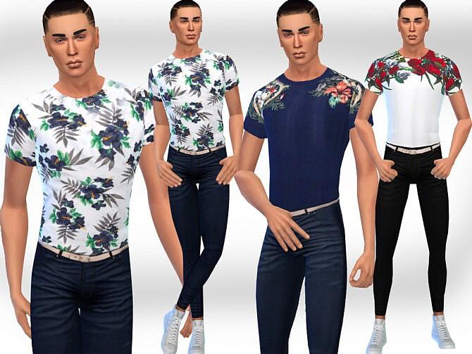 Sims 4 Men Spring Floral Tops by Saliwa at TSR