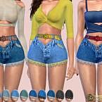 Crochet Lace-trim Denim Shorts By Harmonia