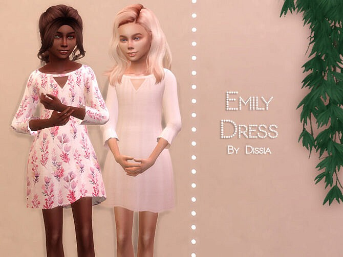 Sims 4 Emily Dress Kids by Dissia at TSR