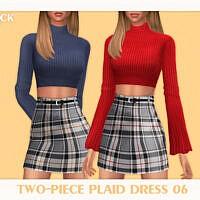 Two-piece Plaid Dress 06 By Black Lily