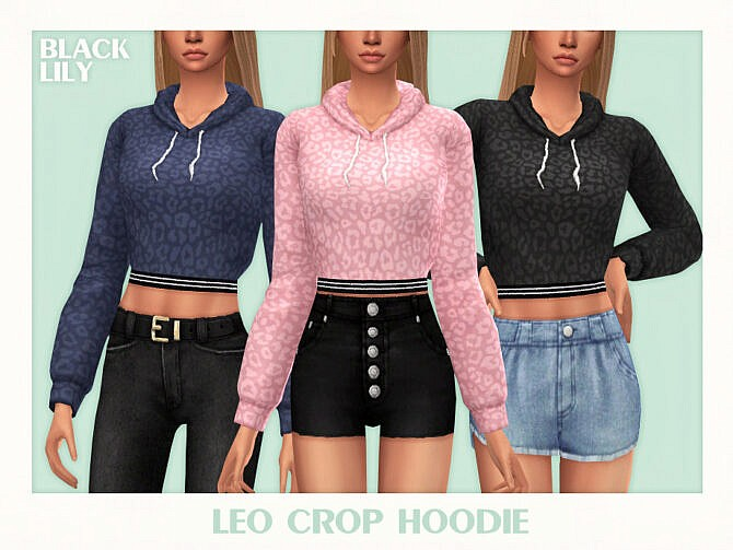 Sims 4 Leo Crop Hoodie by Black Lily at TSR